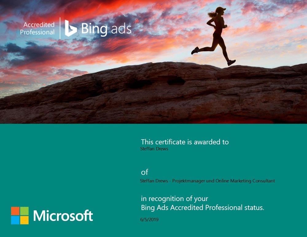 BingAds Zertifikat