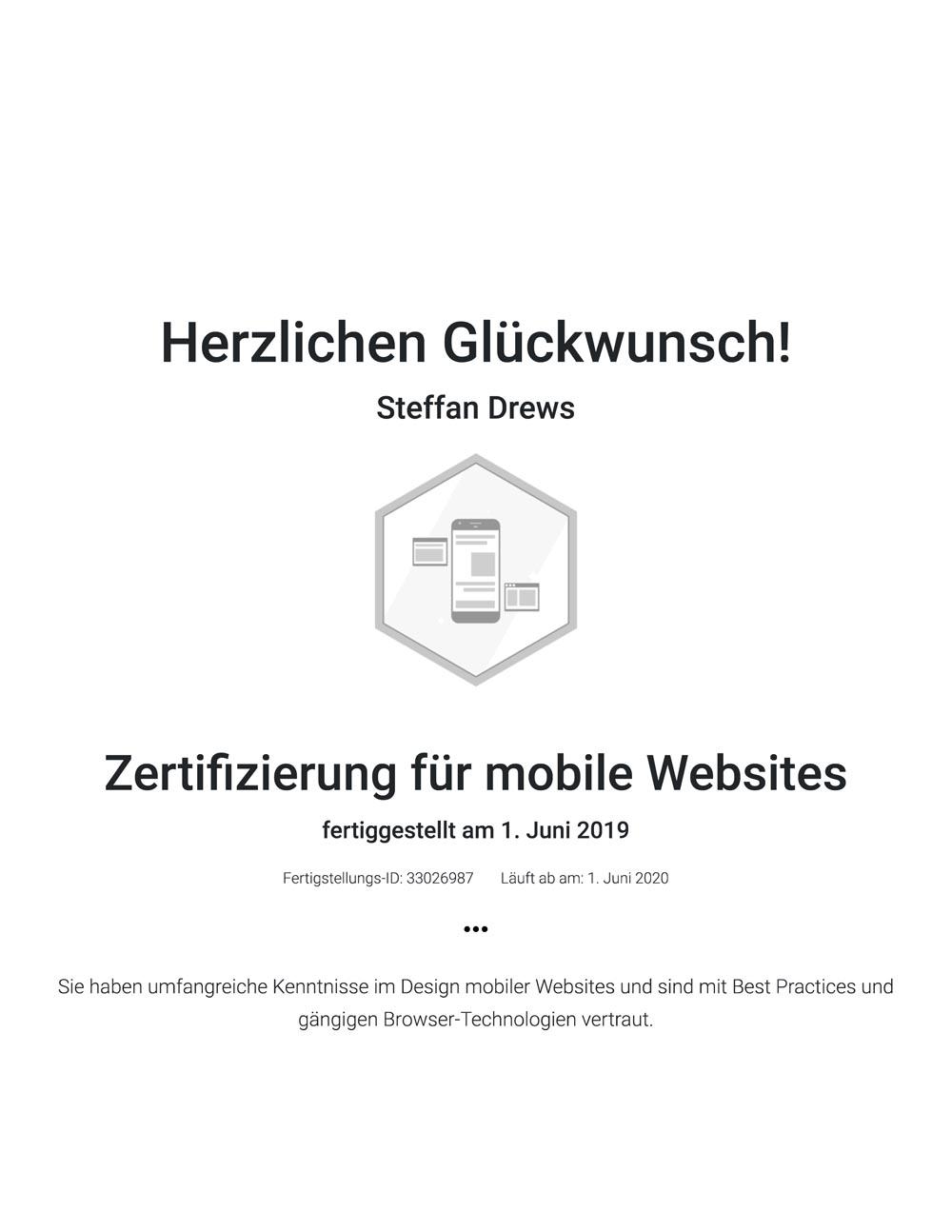 Google Zertifikat mobile Websites